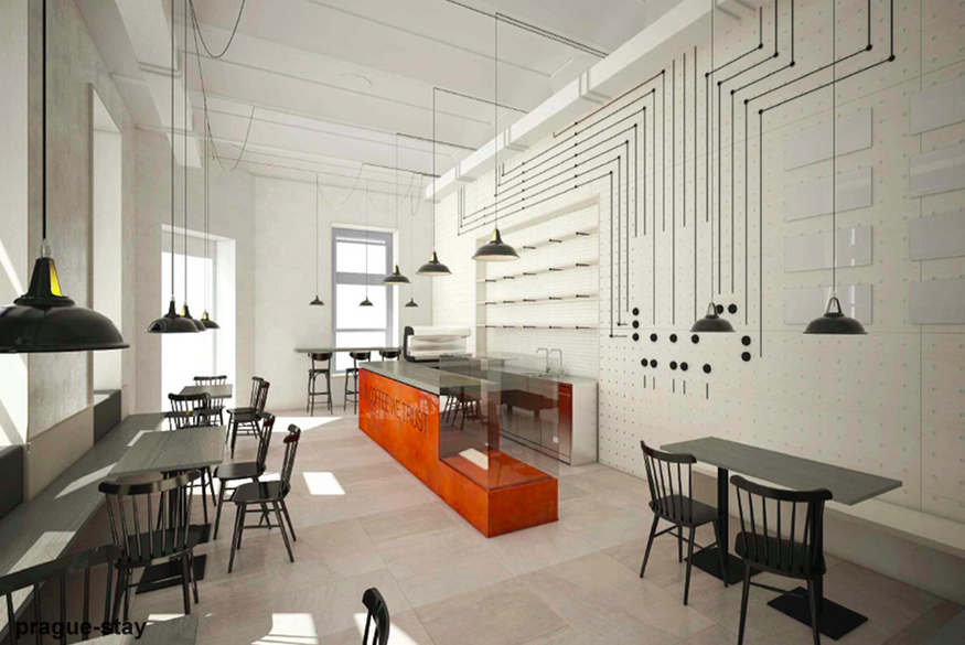 Captivant Located In Prague, The Bistro Prouti Proudu By Mimosa Architekti Shows A  Plain, Immaculate Design. Nevertheless, Its Visible Electrical System, ...
